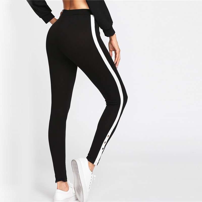 SideButtons | Side Stripe Black Leggings